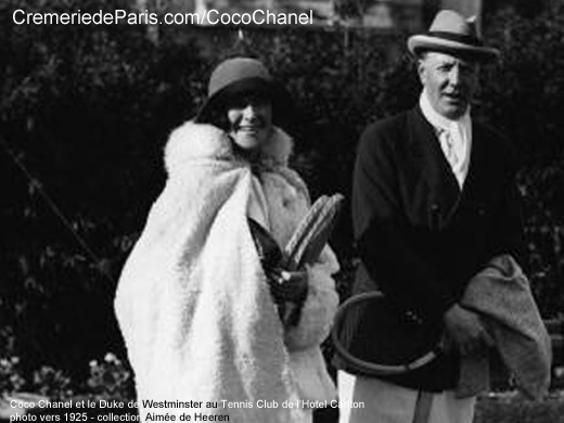 Coco Chanel and Bendor, the 2nd Duke of Westminster on the tennis court of the Hotel Carlton in Cannes. The Duke of Westminster was England's richest man. He had the passion to offer jewellery to beautifu women
