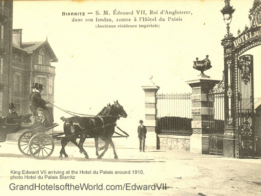 King Edward VII arriving at the Hotel du Palais around 1906