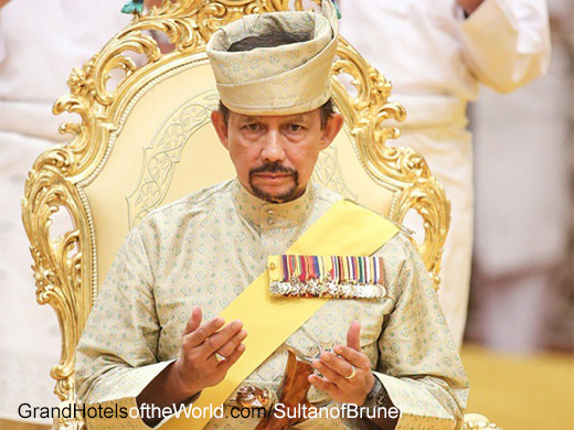 Hassanal Bolkiah, the 29th Sultan of Brunei has a passion for Grand Hotels and owns the Dorchester Hotel Collection